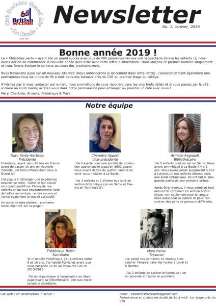 Newsletter number 1 january 2019 francais